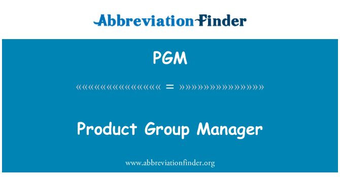 PGM: Product Group Manager