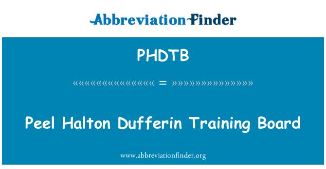 PHDTB: Tabla de entrenamiento de Halton Dufferin de pelar