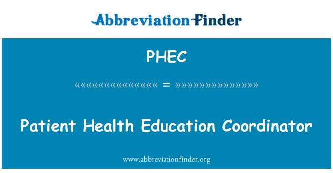 PHEC: Patient Health Education Coordinator