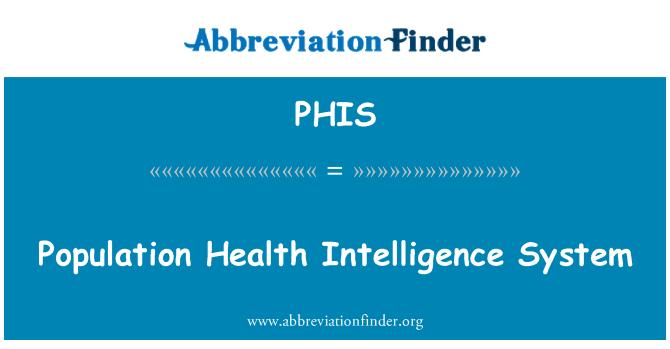 PHIS: Population Health Intelligence System