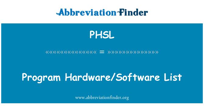 PHSL: Program Hardware/Software List