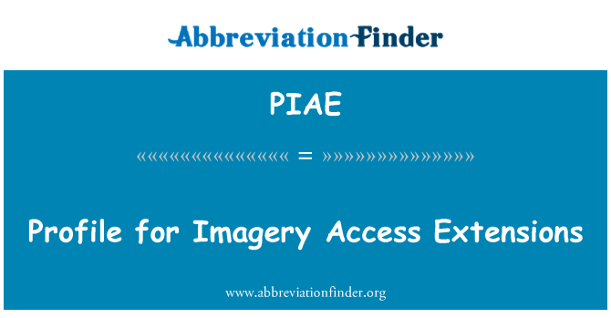PIAE: Profile for Imagery Access Extensions