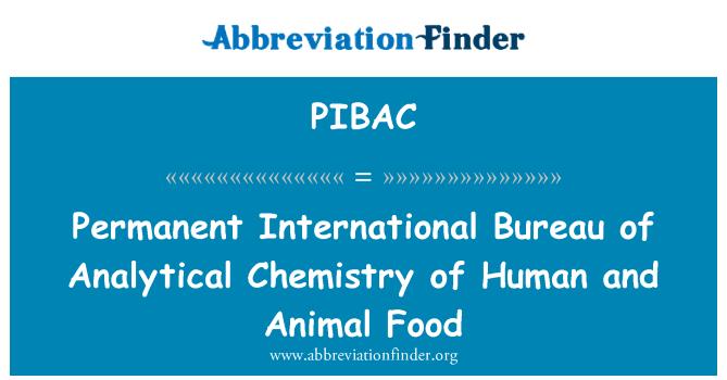PIBAC: Permanent International Bureau of Analytical Chemistry of Human and Animal Food