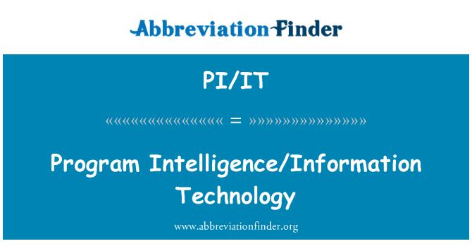 PI/IT: Program Intelligence/Information Technology