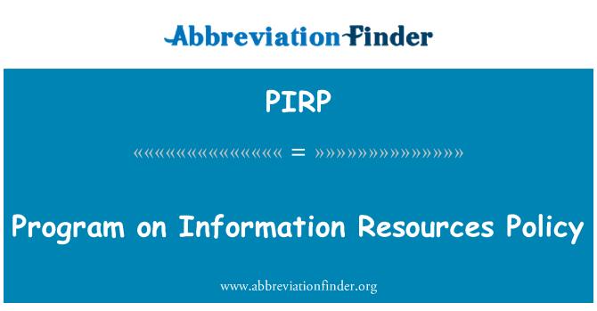 PIRP: Programa sobre política de recursos de información