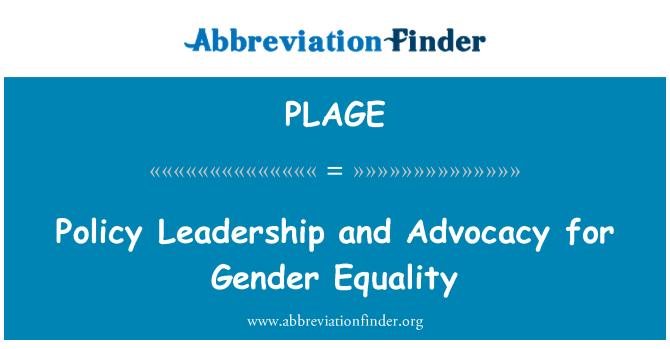 PLAGE: Johto ja edistetään sukupuolten tasa-arvon