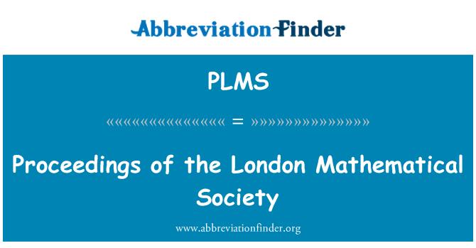 PLMS: Actas de la sociedad matemática de Londres