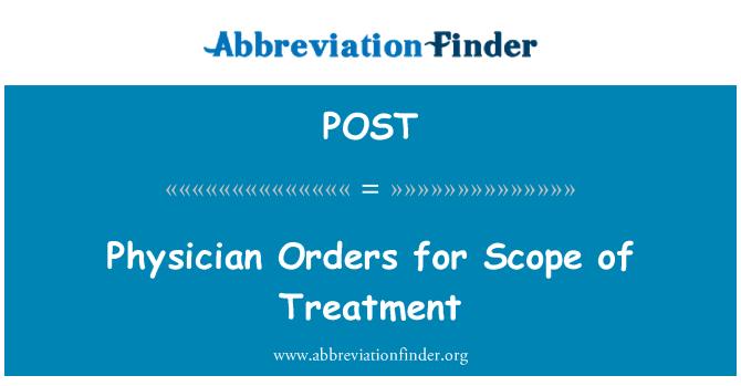 POST: Läkare order för omfattningen av behandling
