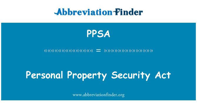 PPSA: Propiedad personal Security Act