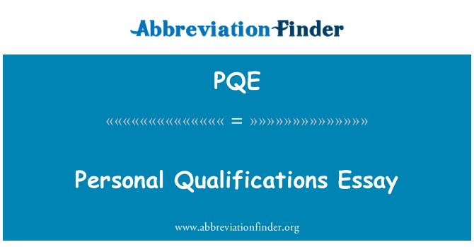 PQE: Kelayakan peribadi esei