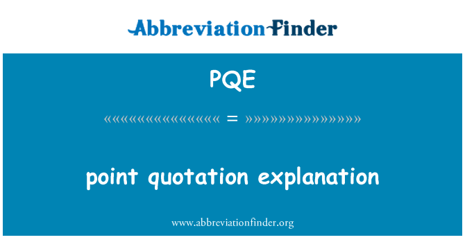 PQE: pont ajánlat magyarázat