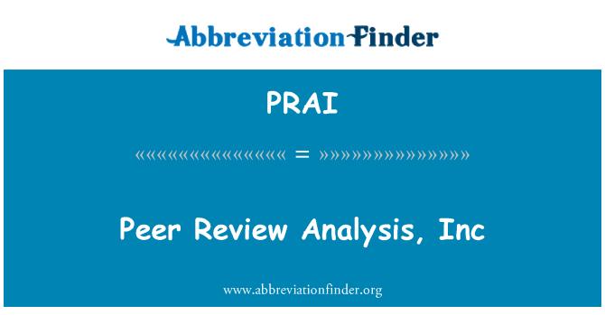 PRAI: Peer Review análisis, Inc
