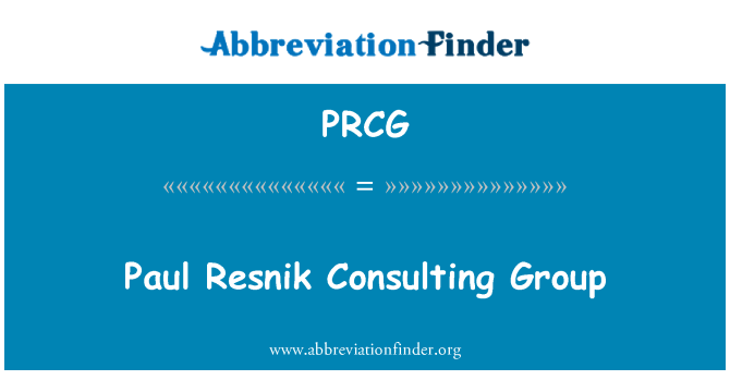 PRCG: Paul Resnik Consulting Group