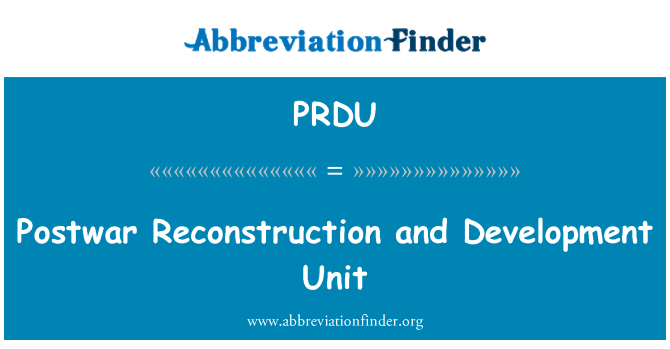 PRDU: Postwar Reconstruction and Development Unit