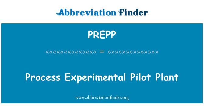 PREPP: Işlem deneysel Pilot tesis