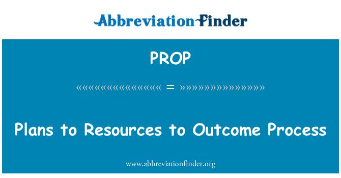PROP: Planes de recursos al proceso de resultado