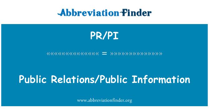 PR/PI: Public Relations/Public Information