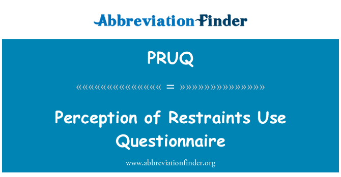 PRUQ: Perception of Restraints Use Questionnaire