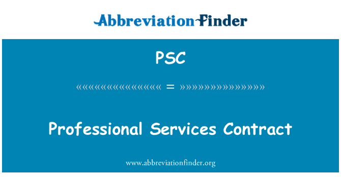 PSC: Professional Services Contract