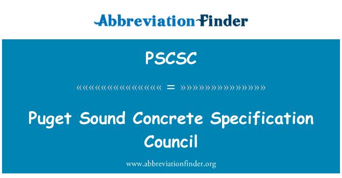 PSCSC: Puget Sound Concrete Specification Council