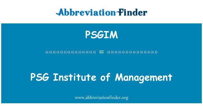 PSGIM: PSG Institute of Management