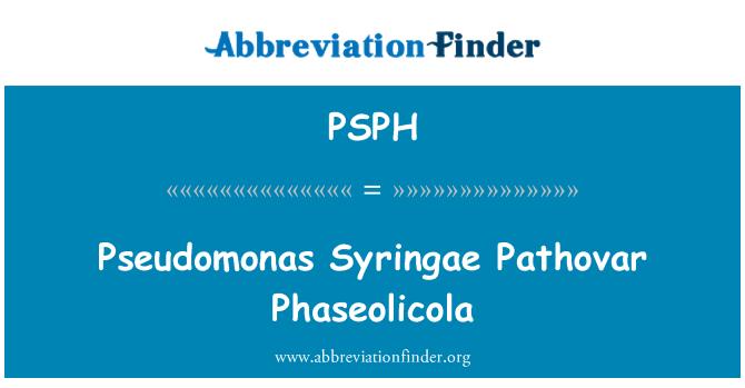 PSPH: Pseudomonas Syringae Pathovar Phaseolicola