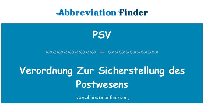 PSV: Verordnung Zur Sicherstellung des Postwesens