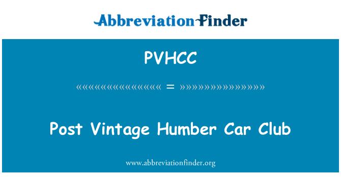 PVHCC: Post Vintage Humber Car Club