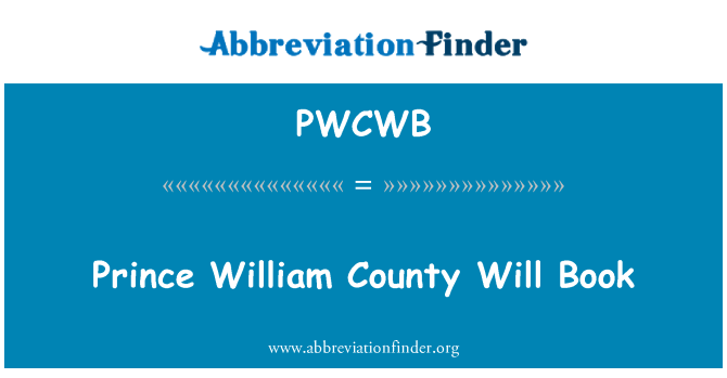 PWCWB: Prince William County Will Book