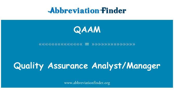 QAAM: Quality Assurance Analyst/Manager