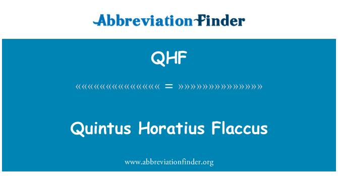 QHF: Quintus Horatius Flaccus