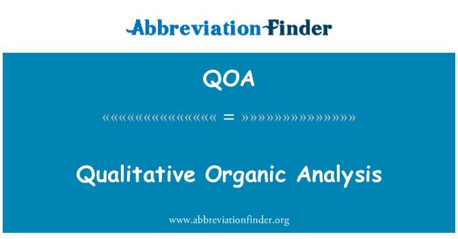 QOA: Análisis orgánico cualitativo
