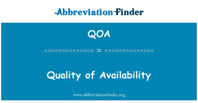 QOA: Calidad de disponibilidad