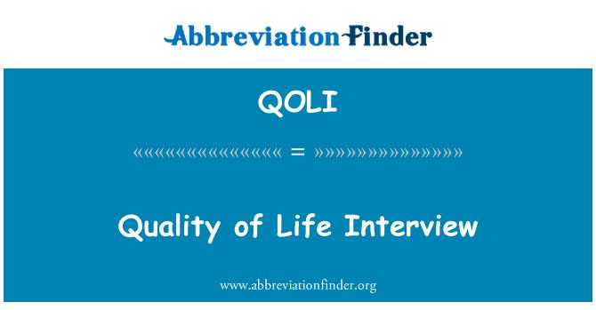 QOLI: Quality of Life Interview