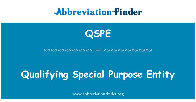 QSPE: Qualifying Special Purpose Entity