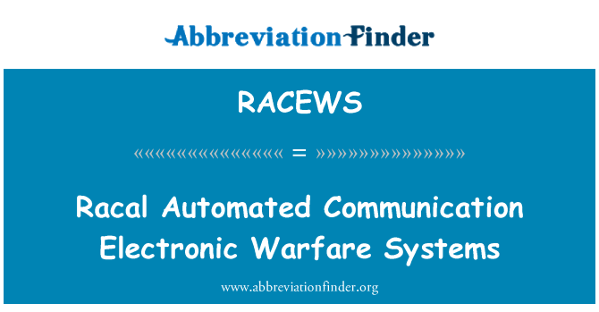 RACEWS: Racal Automated Communication Electronic Warfare Systems