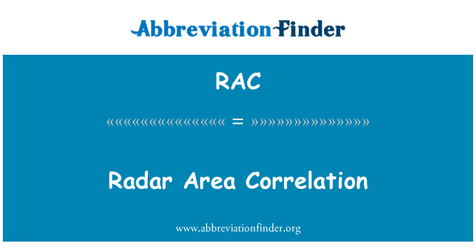 RAC: Radar Area Correlation
