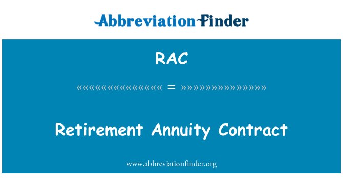 RAC: Retirement Annuity Contract