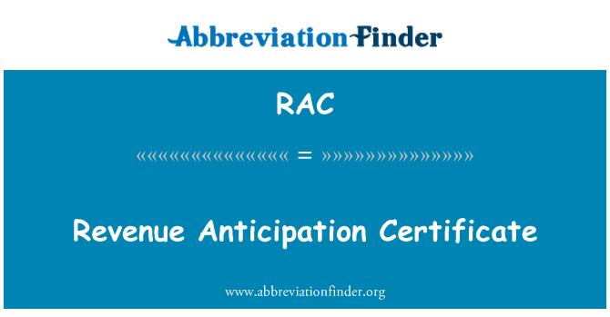 RAC: Revenue Anticipation Certificate