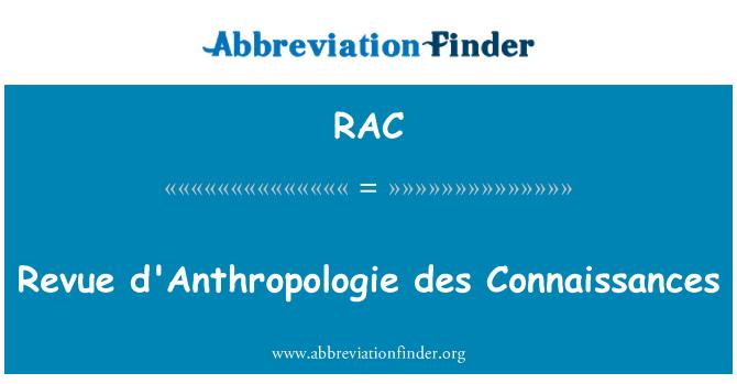 RAC: Revue d'Anthropologie des Connaissances