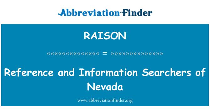 RAISON: Reference i pretraživačima informacija iz Nevade