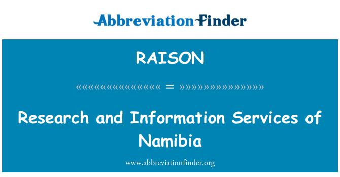 RAISON: Istraživanja i informacijskih usluga Namibije