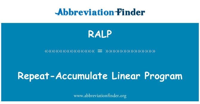 RALP: Repeat-Accumulate Linear Program