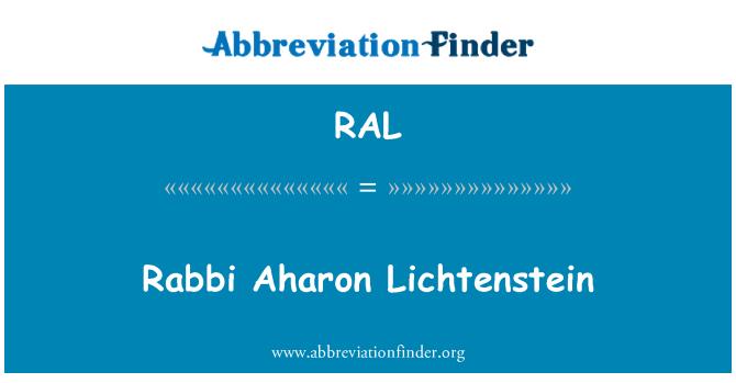RAL: Rabbi Aharon Lichtenstein