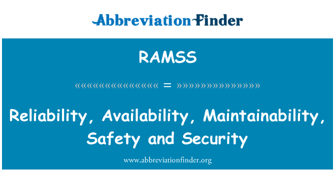 RAMSS: Reliability, Availability, Maintainability, Safety and Security