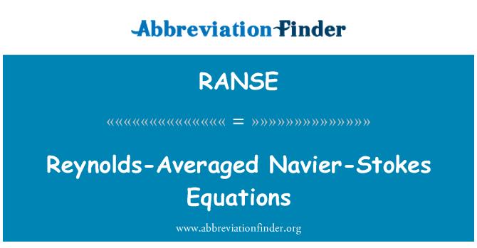 RANSE: Reynolds-hecho un promedio Navier-alimenta ecuaciones