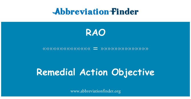 RAO: Remedial Action Objective