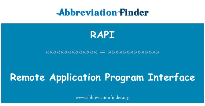RAPI: Remote Application Program Interface