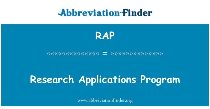 RAP: Research Applications Program