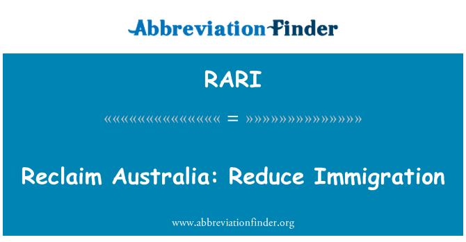 RARI: Recuperación de Australia: Reducir la inmigración